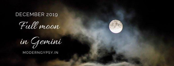 Tarot spread for the December 2019 full moon in Gemini