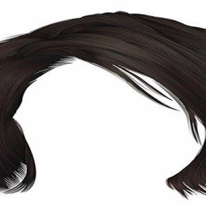 trendy woman disheveled hairs kare with fringe . dark brown brunette color . medium length . beauty style . realistic 3d .