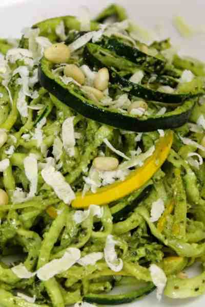 Squash Noodles with spinach-basil pesto