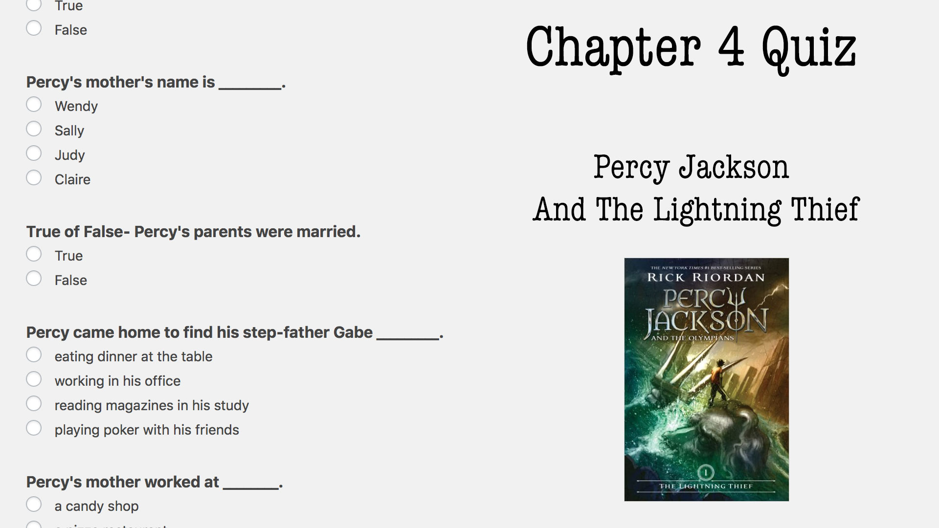 Percy Jackson Book One Quiz Archives