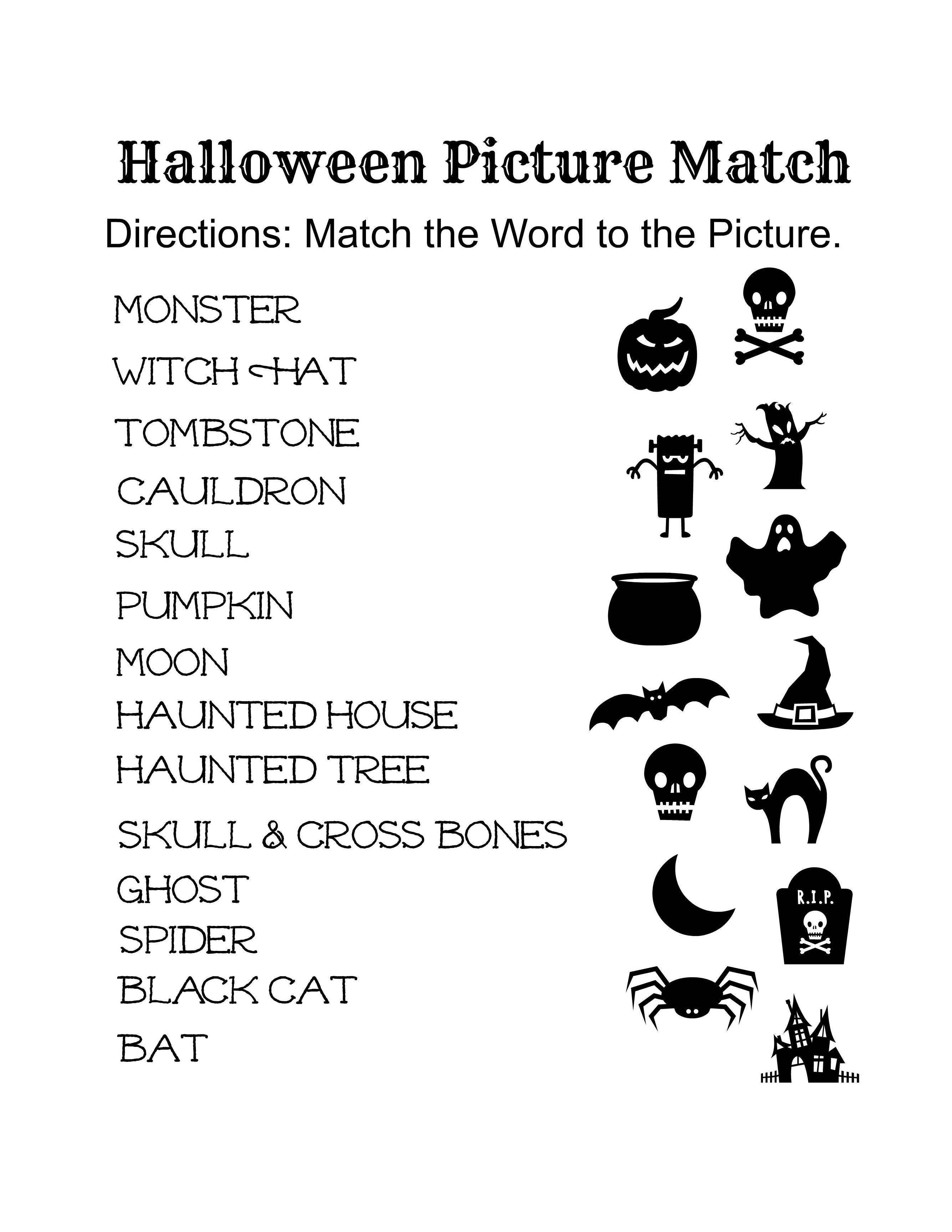 Elementary Halloween Worksheet