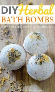 DIY Herbal Bath Bombs - Calming Chamomile Lavender