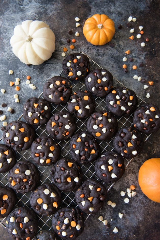 Dark Chocolate Halloween Chip Cookies