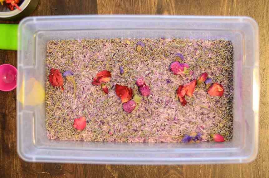 Lavender Floral Sensory Bin For Toddlers and Kids