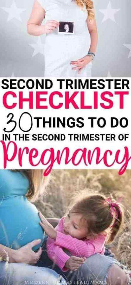 Second Trimester Checklist: Things To Do In The Second Trimester of Pregnancy | Modern Homestead Mama