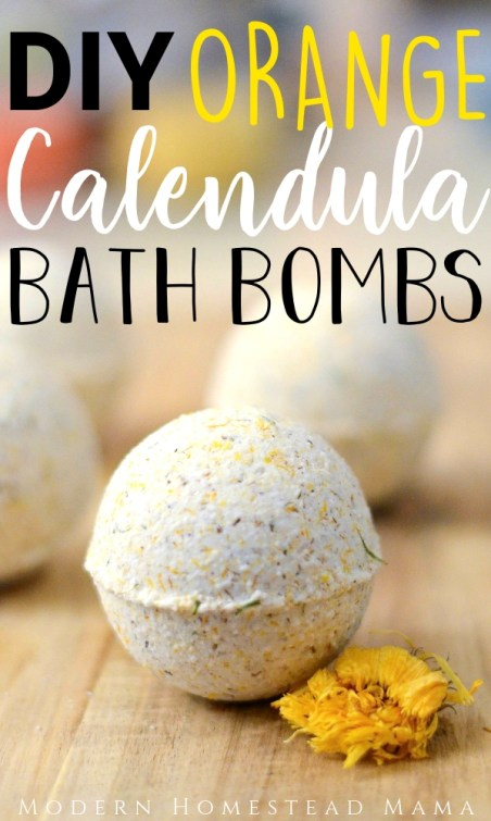 DIY Orange Calendula Bath Bombs | Modern Homestead Mama