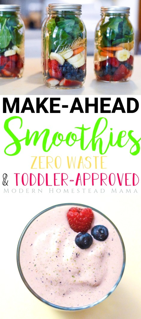 Make-Ahead Smoothies for Toddlers (Zero Waste) | Modern Homestead Mama