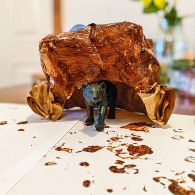Paper Bag Bear Cave Craft for Kids