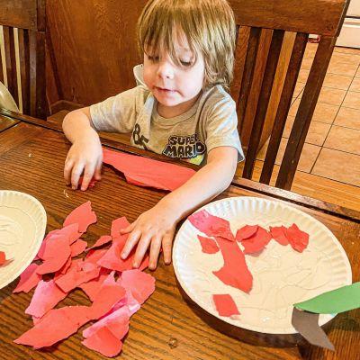 Paper Plate Apple Craft (Cut, Tear, & Glue)