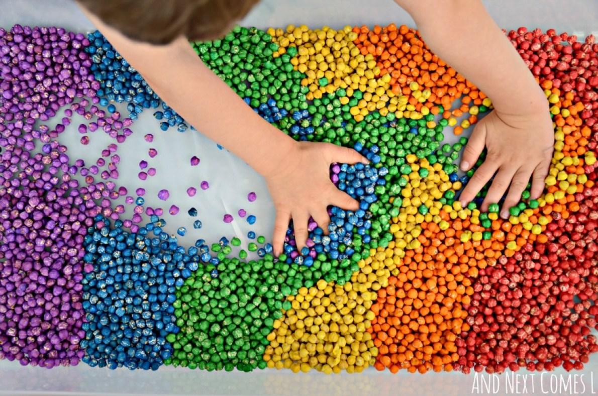 Rainbow Sensory Chick Peas