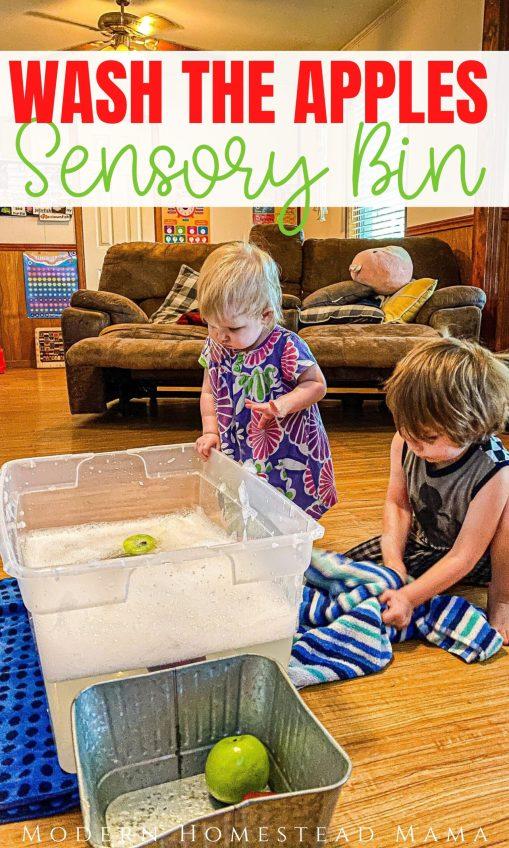 Wash the Apples Sensory Bin Activity | Modern Homestead Mama