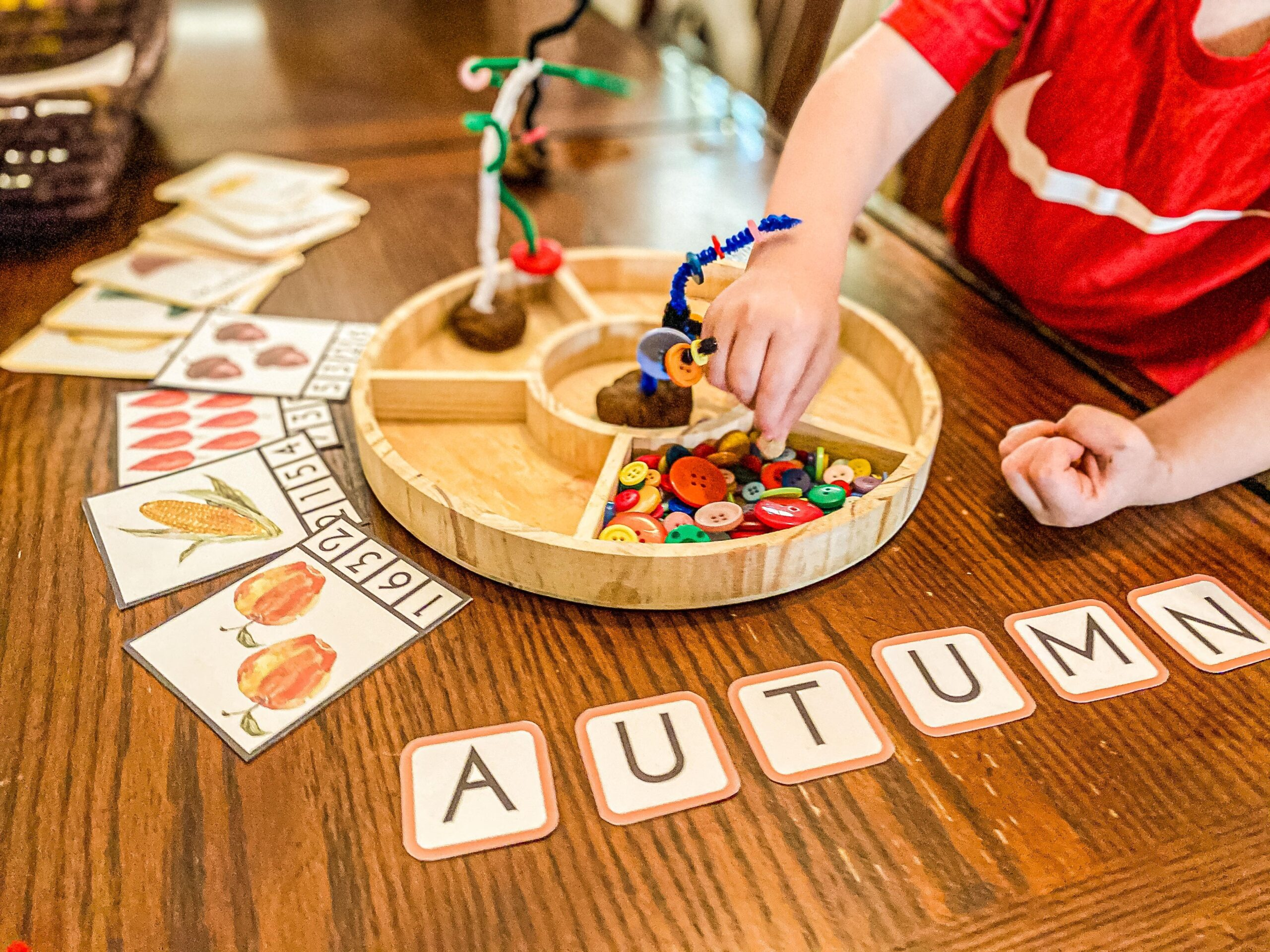 Fall Button Tree Invitation to Play - Fine Motor Autumn Activity
