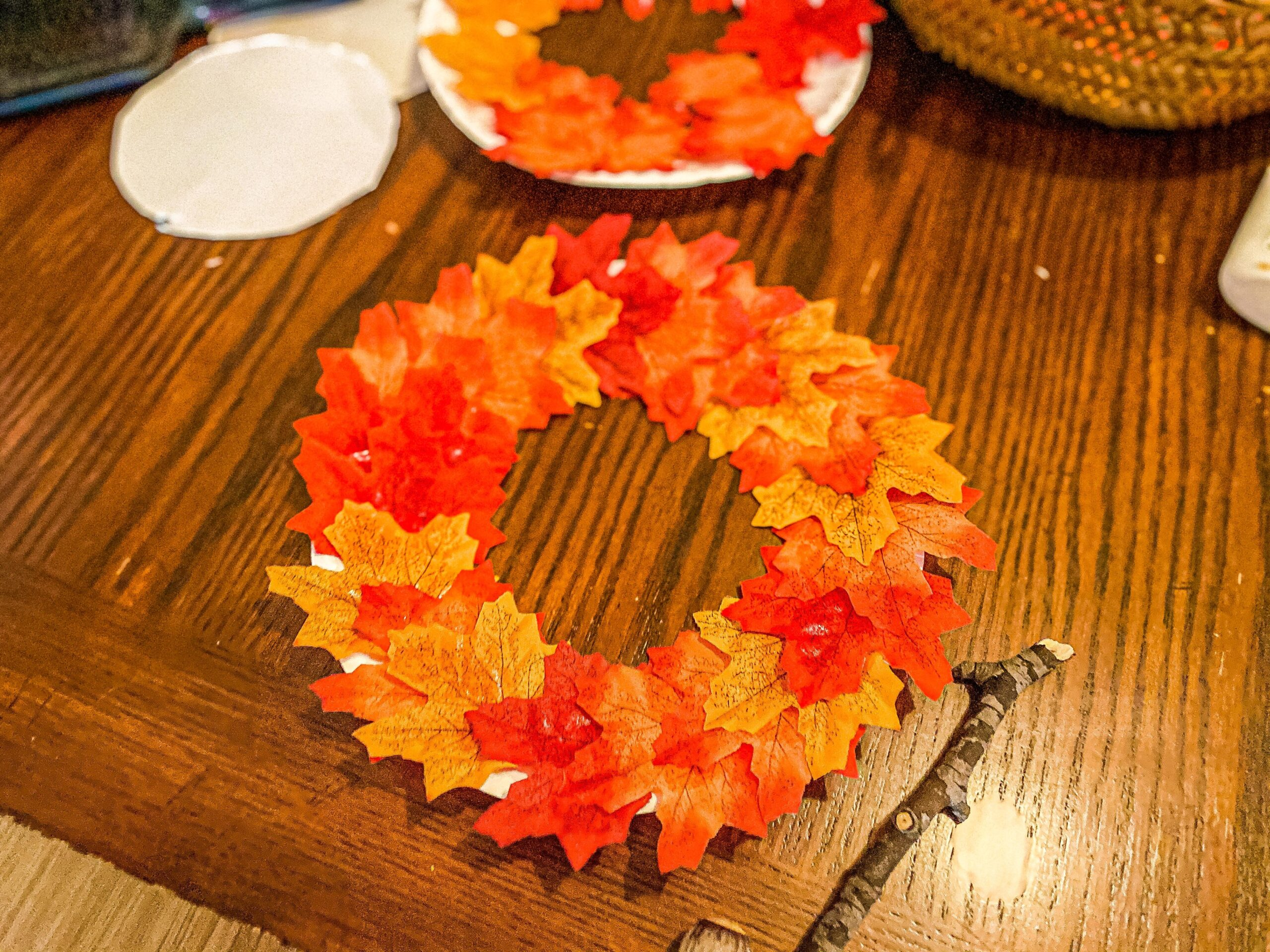 Fall Paper Plate Wreath Craft