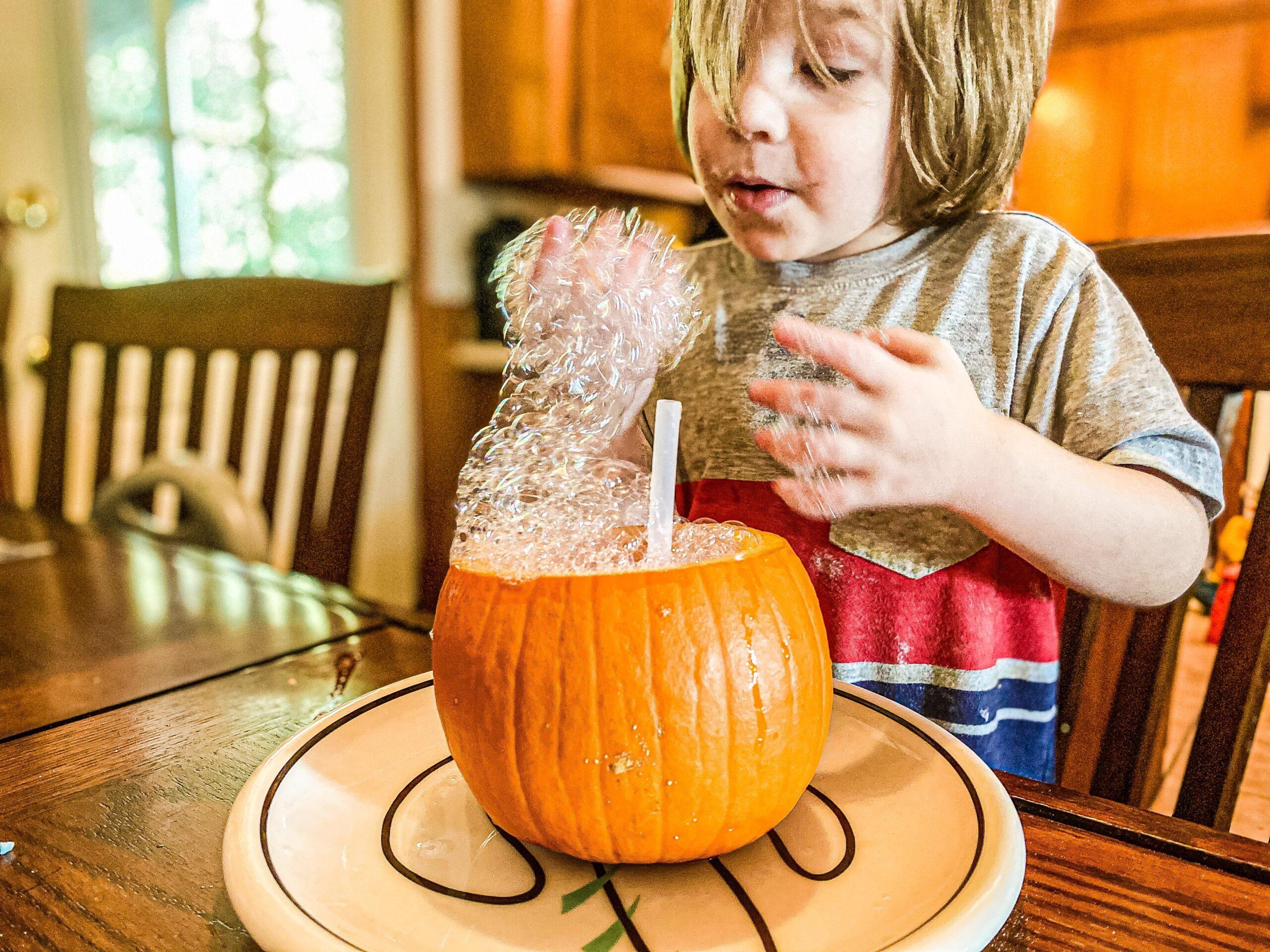 Pumpkin Bubbles Science Experiment for Preschoolers