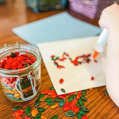 Pumpkin Seed Name Craft for Preschoolers