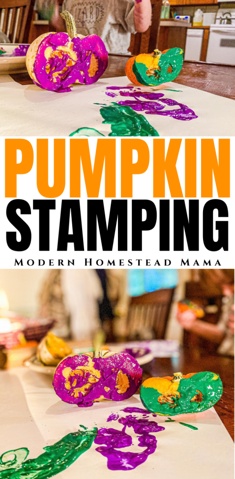 Pumpkin Stamping Art Activity for Toddlers & Preschoolers | Modern Homestead Mama