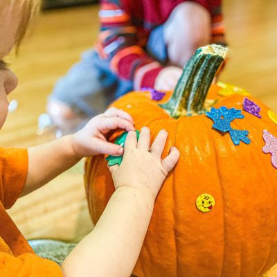 Pumpkin Sticker Play for Toddlers