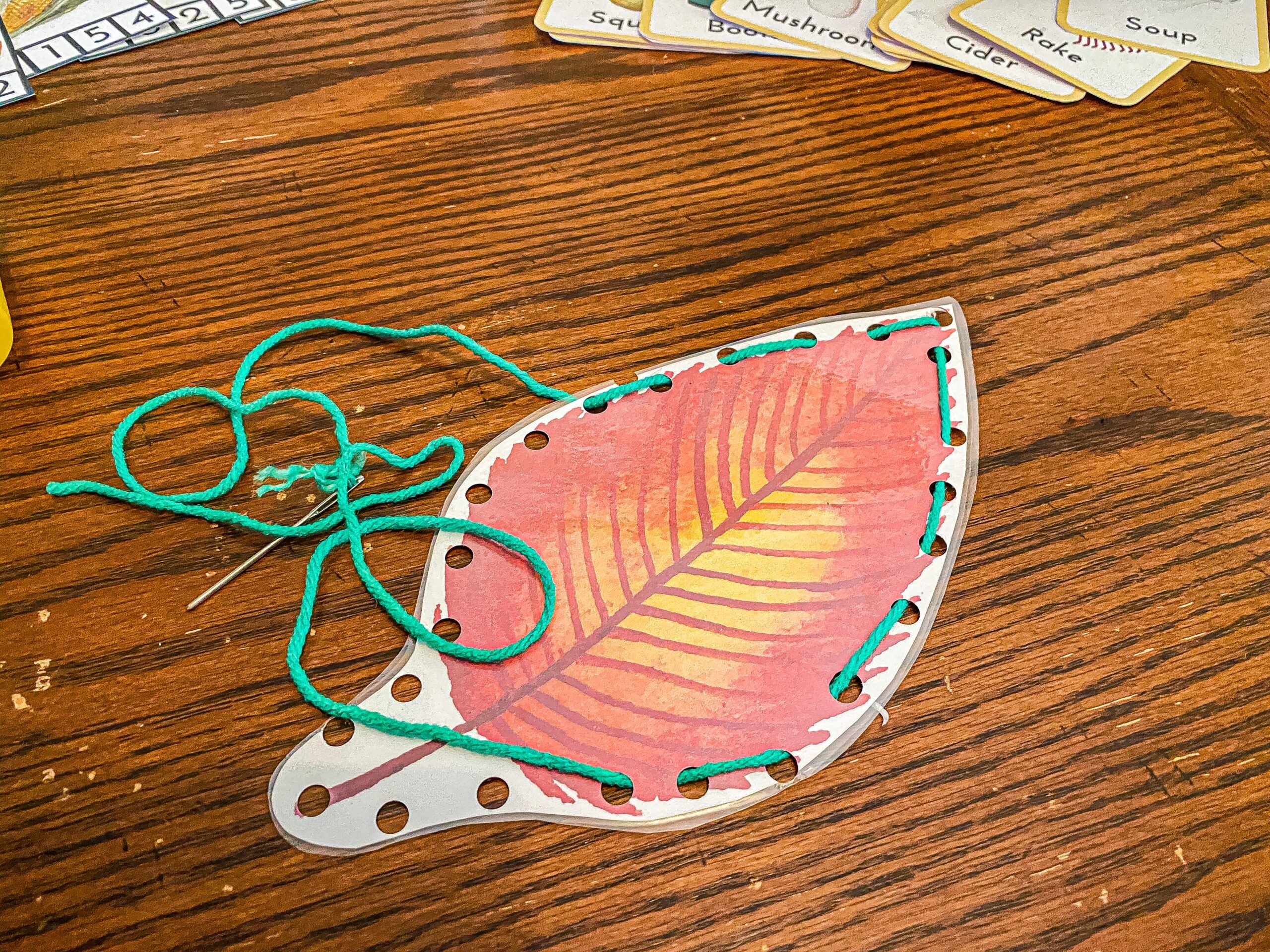 Fall Leaf Lacing Activity (with FREE Printable)