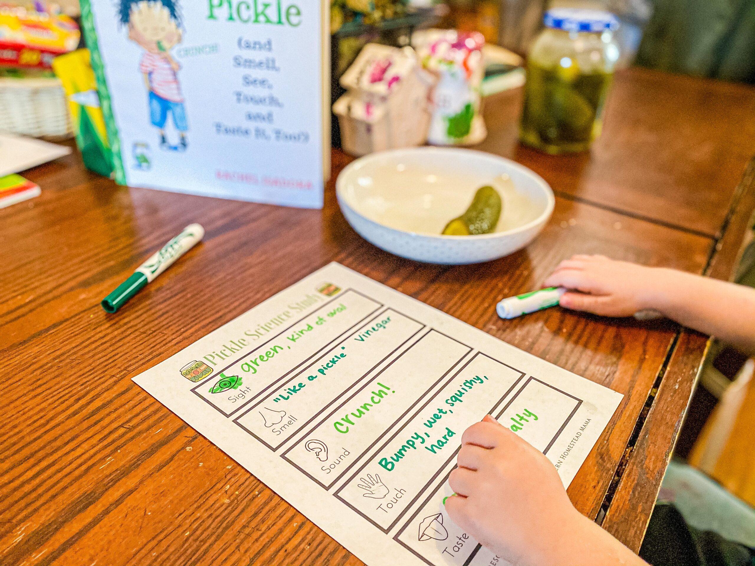 Pickle Science Study - Five Senses Activity