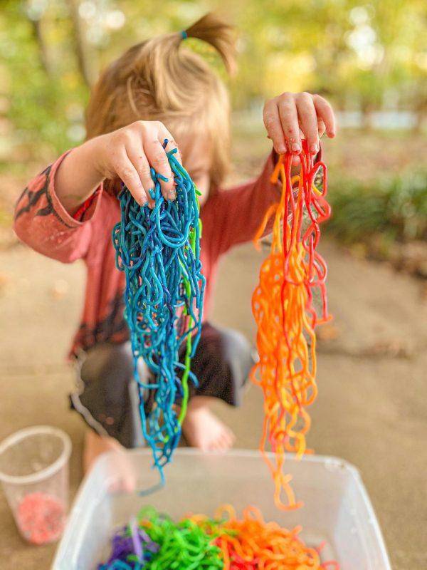 Rainbow Spaghetti for Sensory Play