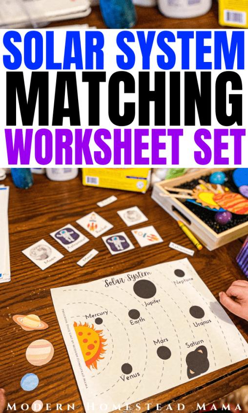 Solar System Match Worksheet Set | Modern Homestead Mama