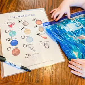 I-Spy Space Busy Bag for Preschoolers (with Printable)