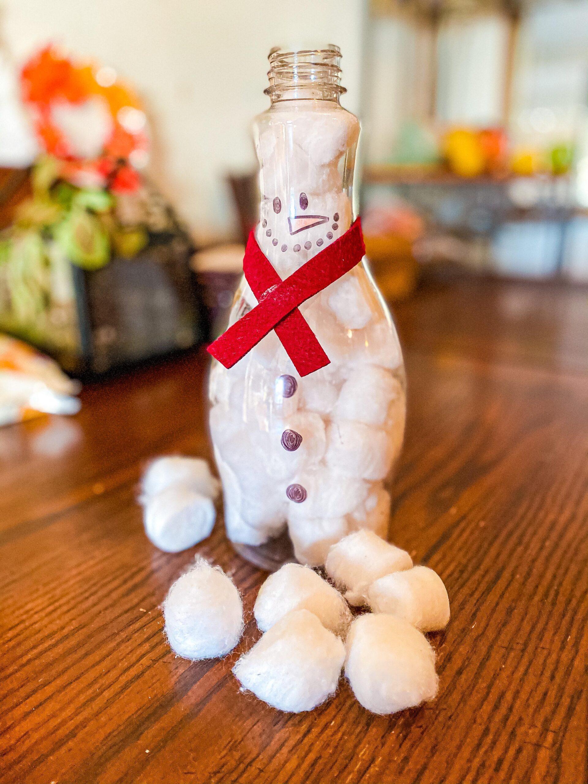 Fill the Snowman Bottle Fine Motor Winter Toddler Activity