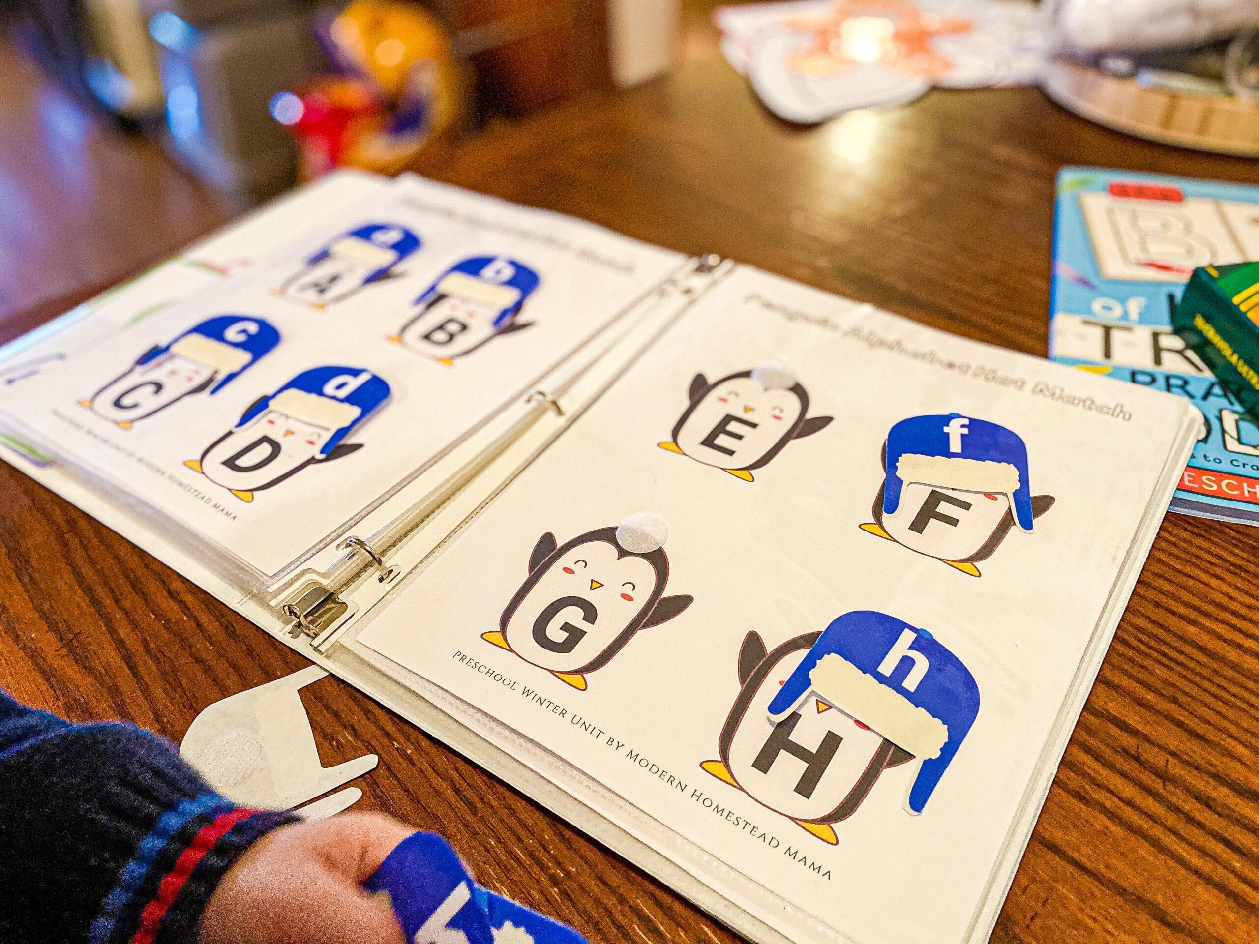 Penguin Alphabet Hat Matching Winter Printable