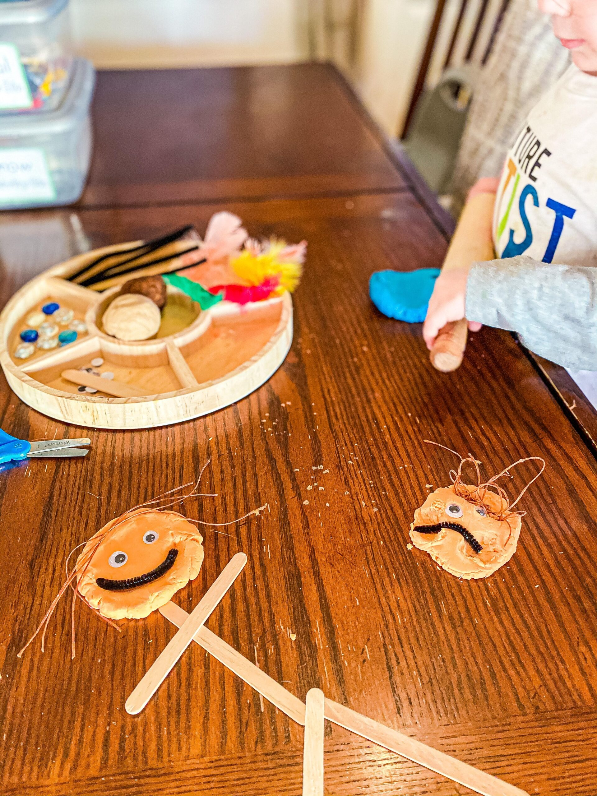 Self-Portrait Playdough Tray for Preschoolers