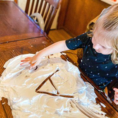 Shaving Cream Snow Sensory Writing Preschool Winter Activity