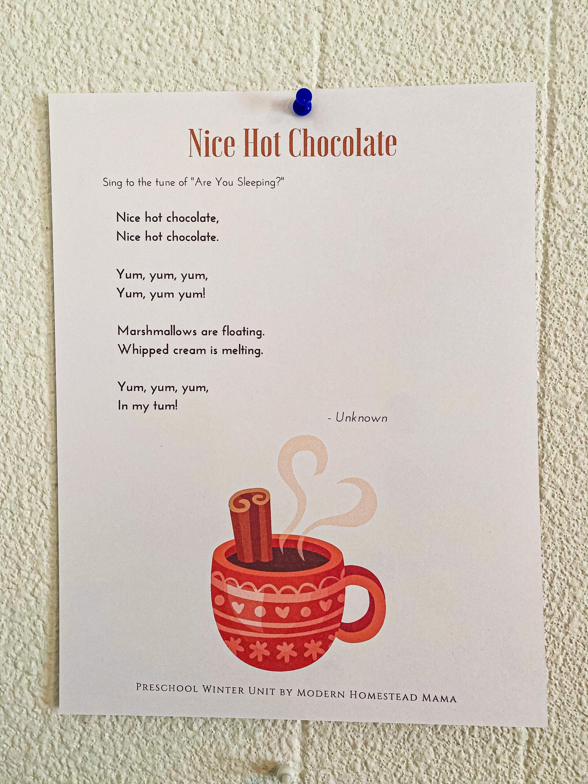Nice Hot Chocolate Song for Preschoolers