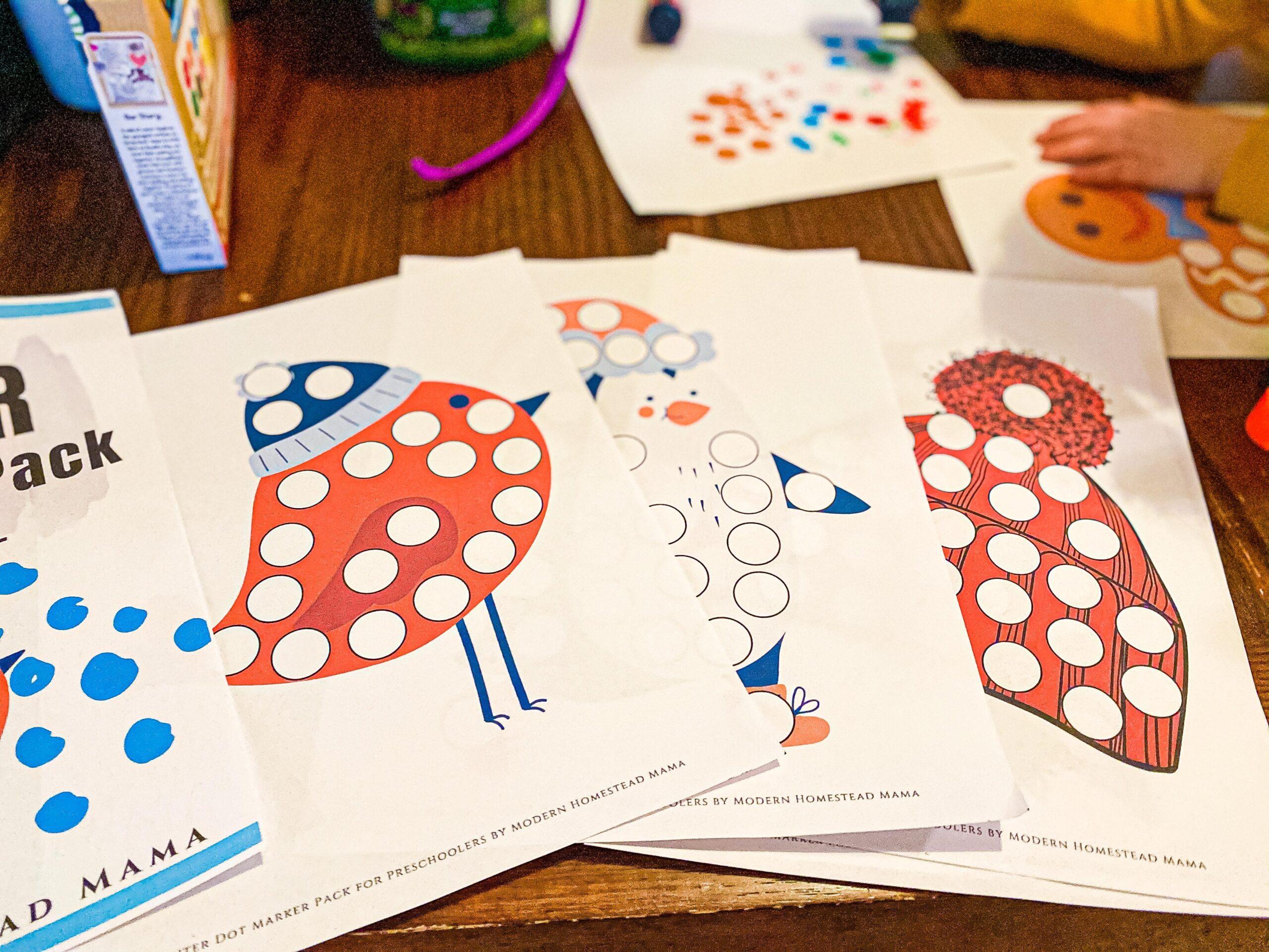 Winter Dot Marker Pack Printable for Preschoolers