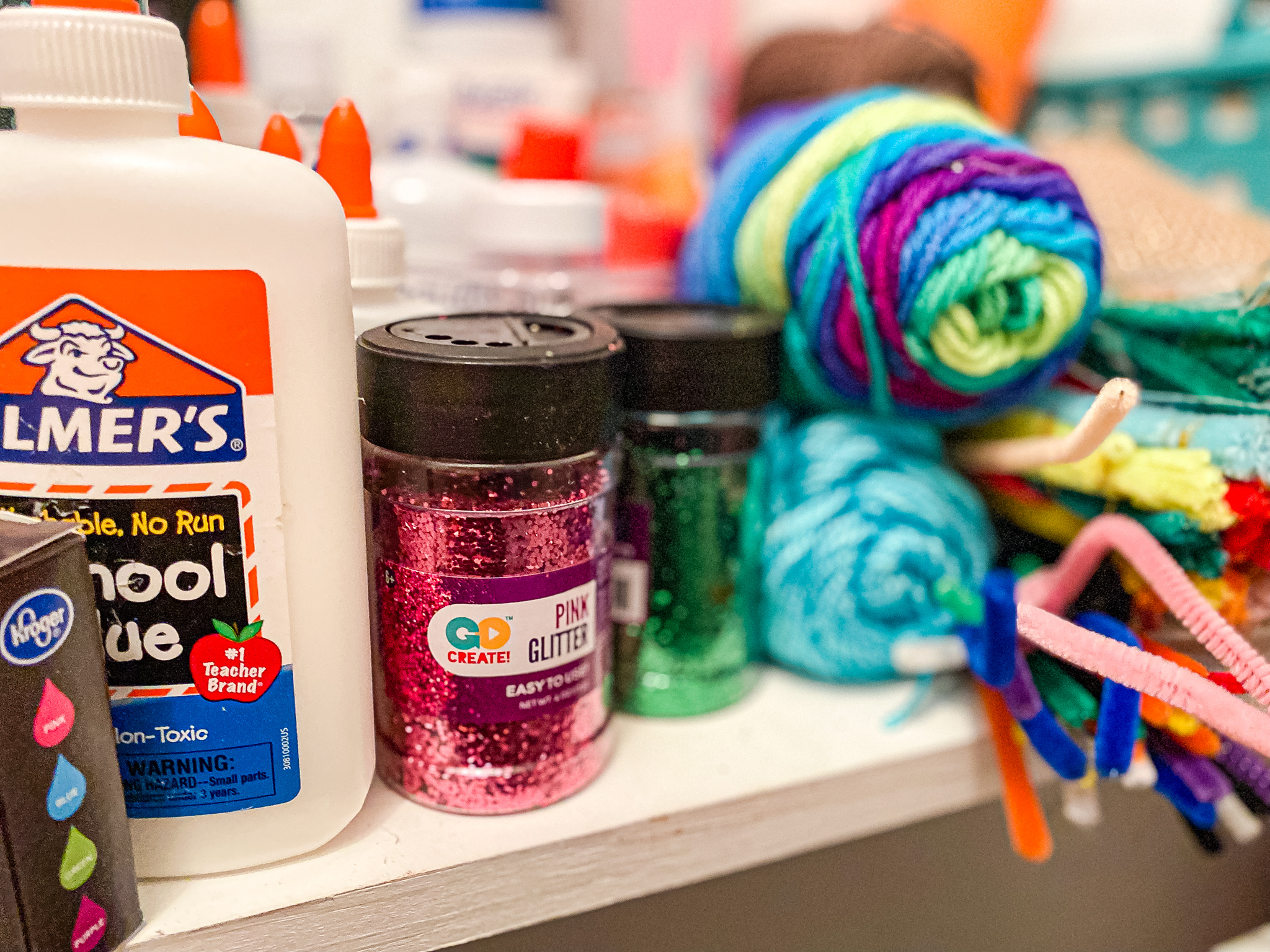 Homeschool Closet Materials Craft materials - glitter, yarn, glue