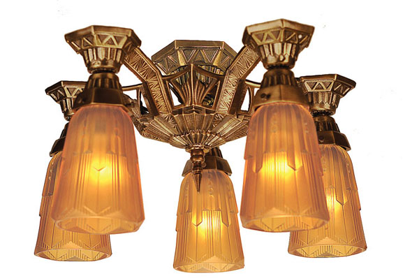 New Reproduction Of The Lincoln Close Ceiling 5 Light Lamp