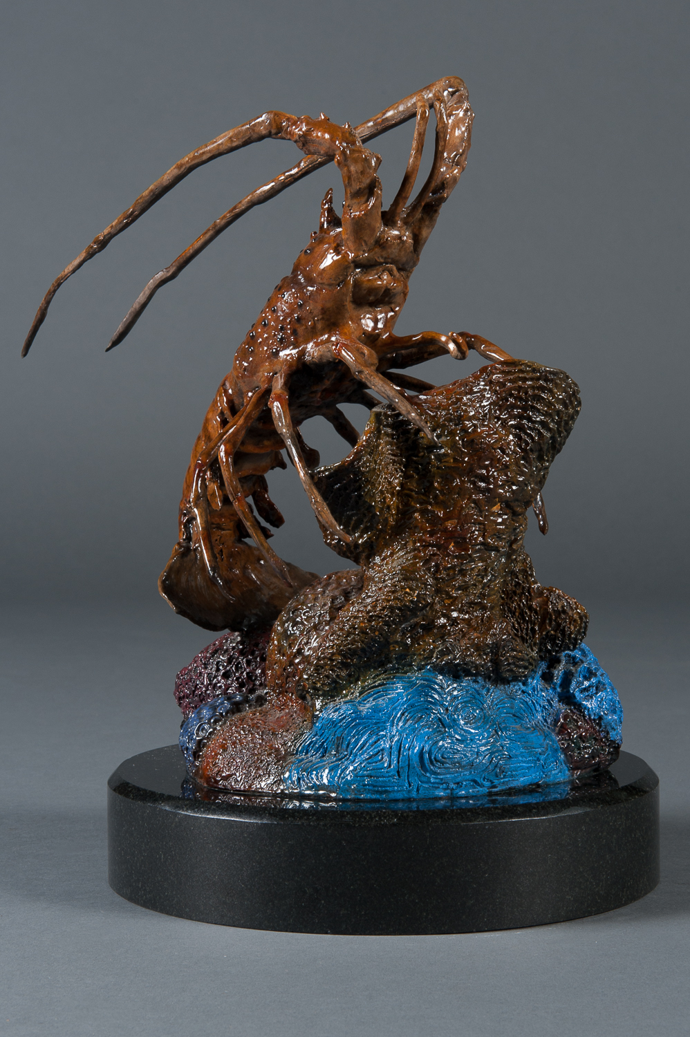 A Signed American Modern Bronze Floridian Lobster