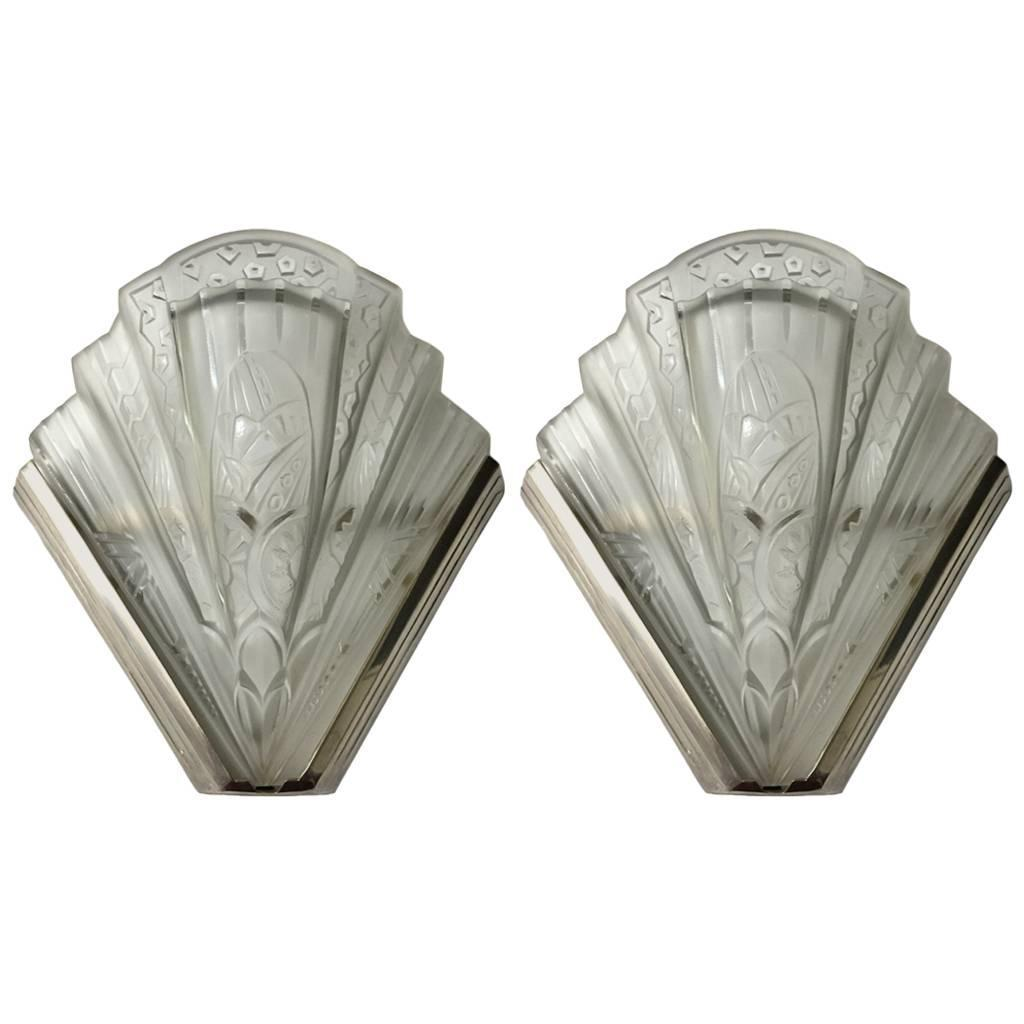 Pair Of Frontisi Flower Wall Sconces French Art Deco ... on Flower Wall Sconces id=72909