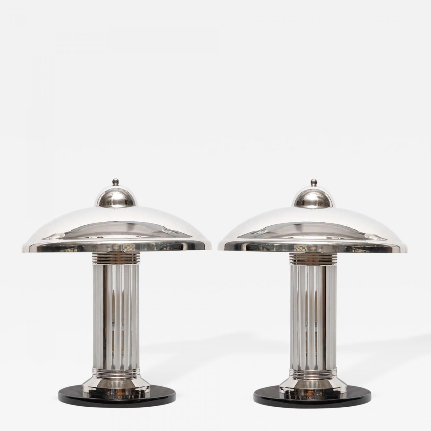 Pair French Art Deco Petitot Table Or Desk Lamps