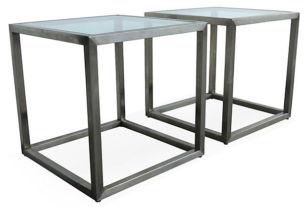 Mid Century Modern Stainless Steel Cube Side Tables