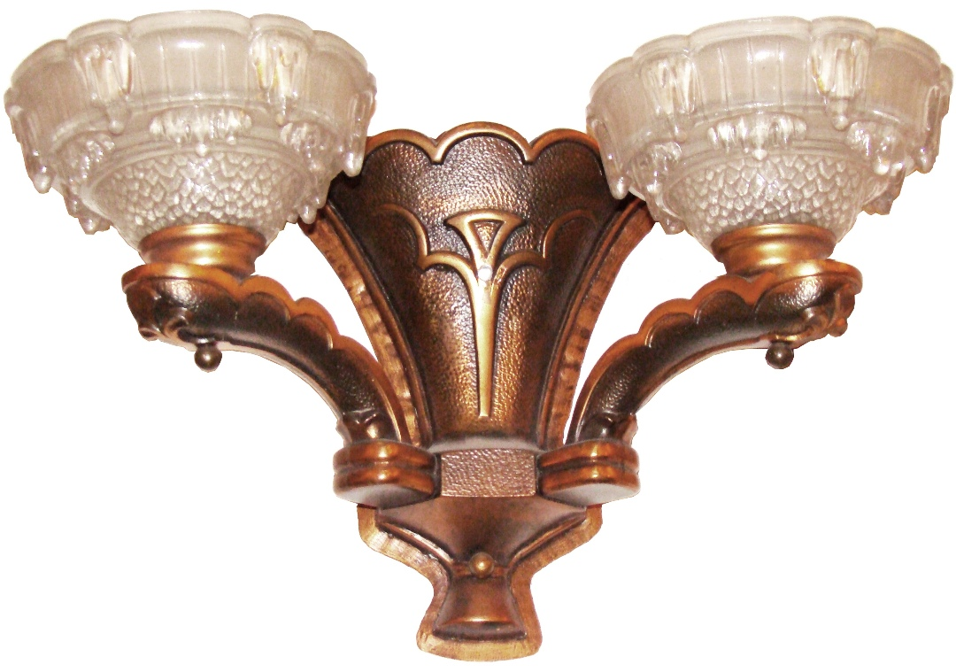 Pair Of Copper French Art Deco Sconces Amp Dripping Ice