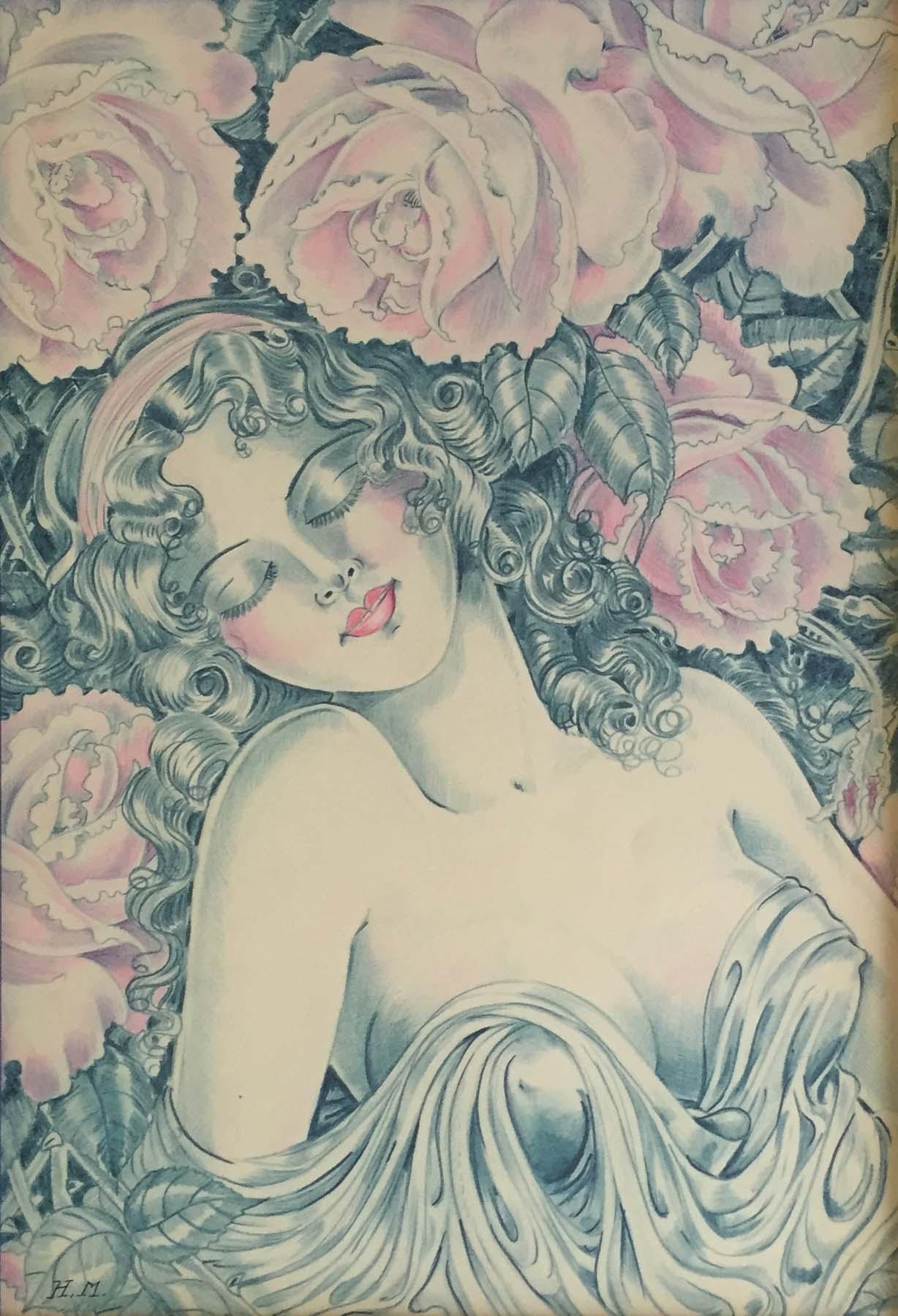 Hilda Maset French Illustrator Color Pencil C1930shilda Mas Modernism