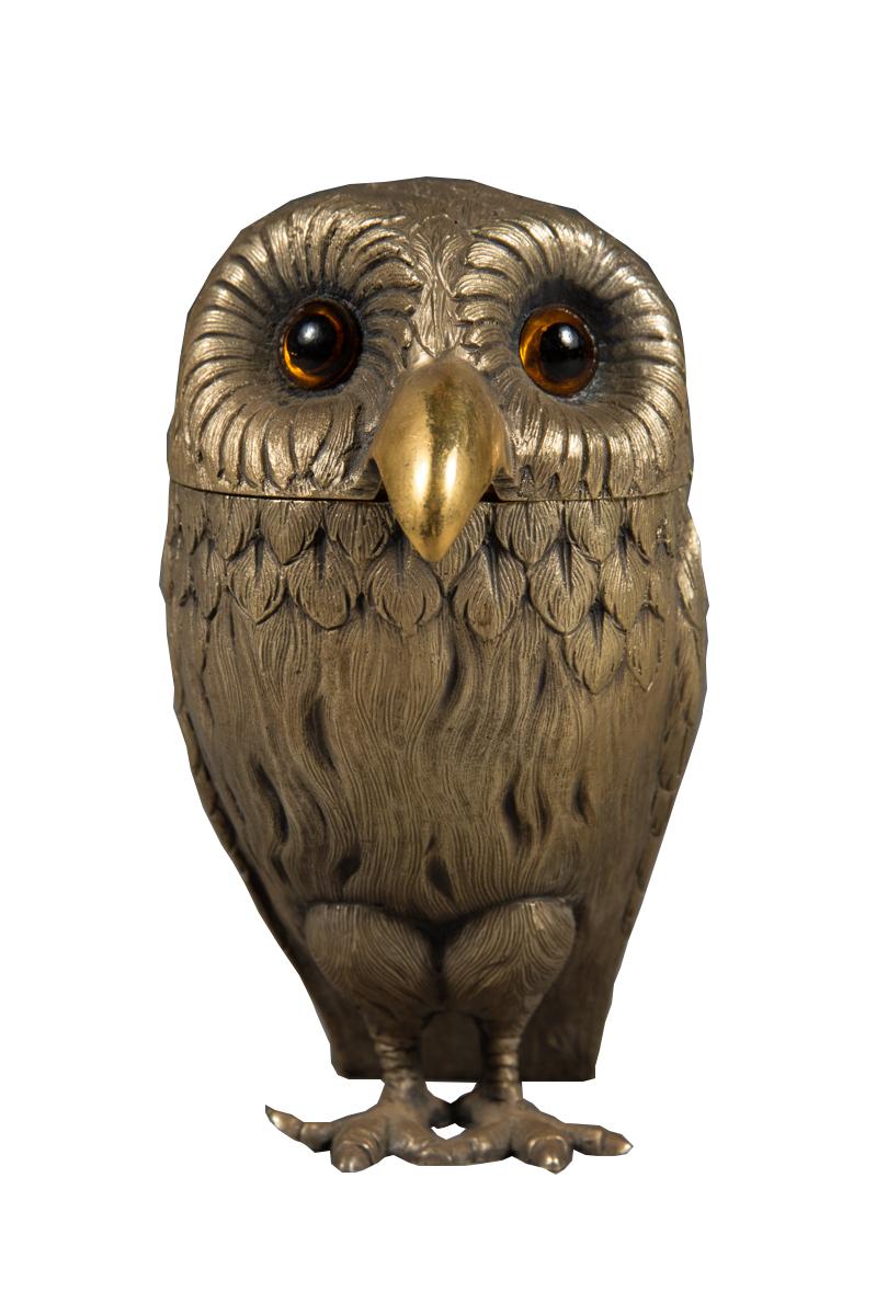 English Sterling Silver Owl Form Mustard Pot London 1972 Modernism