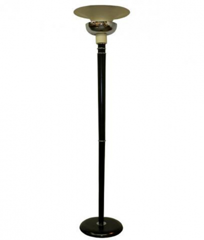 A Double Shade French Art Deco Wood And Metal Floor Lamp