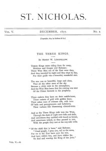 "Longfellow, Henry. ""The Three Kings."" St. Nicholas. 5:2 (Dec. 1877): 73."