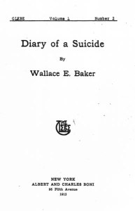 "Title page, ""Diary of a Suicide."" The Glebe. 1913: 1.2"