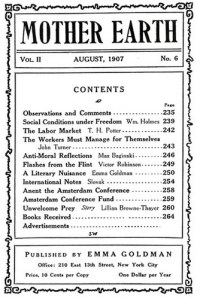 Table of contents from the August 1907 issue of Mother Earth.