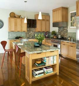 Lots of storage, a sparkling kitchen island, and a stunning backsplash all make this kitchen remodeling one of a kind