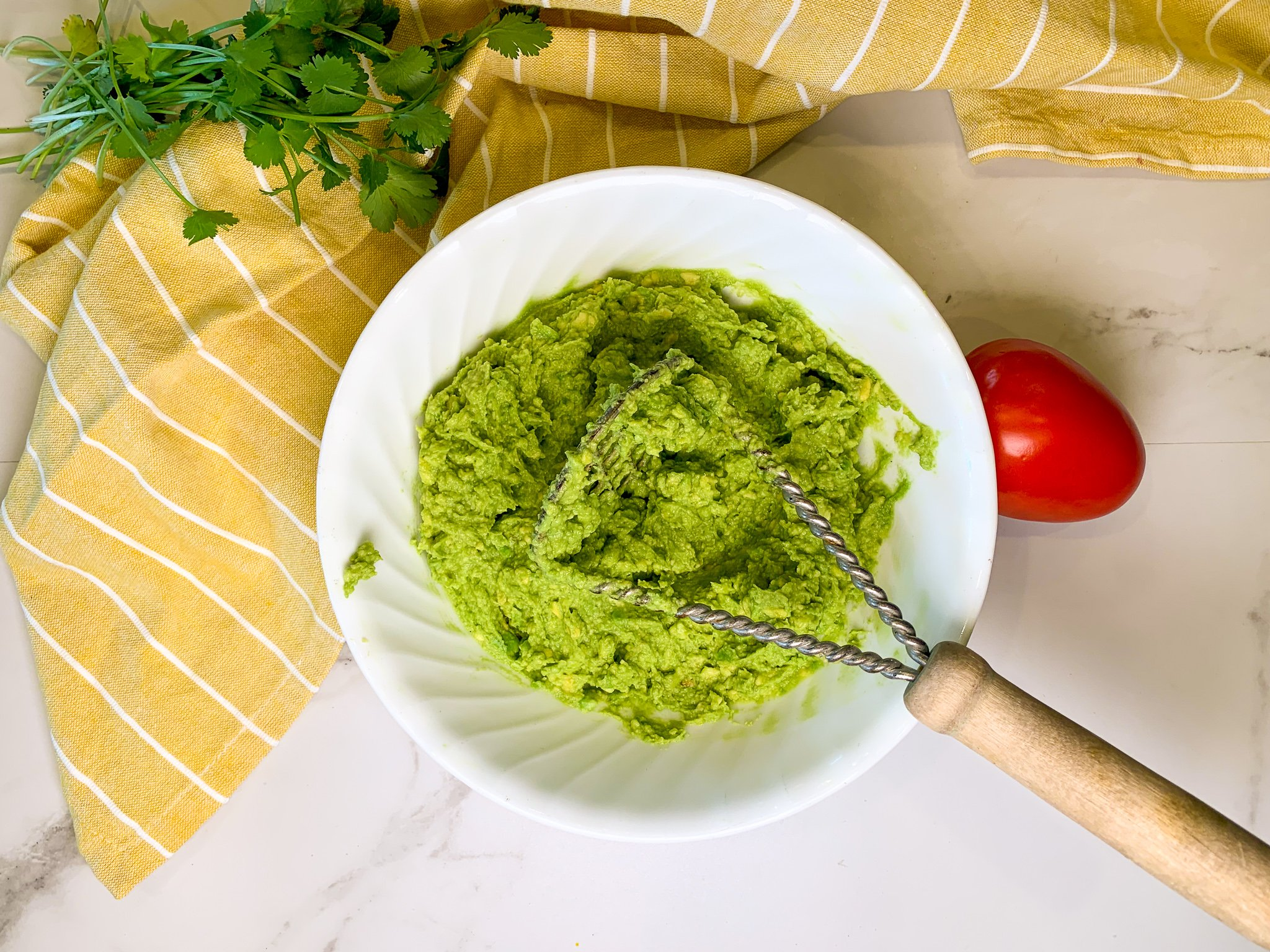 Mashed Avocados in a bowl