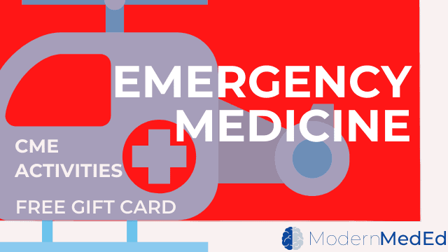 Emergency Medicine CME with gift card with blue helicopter in background