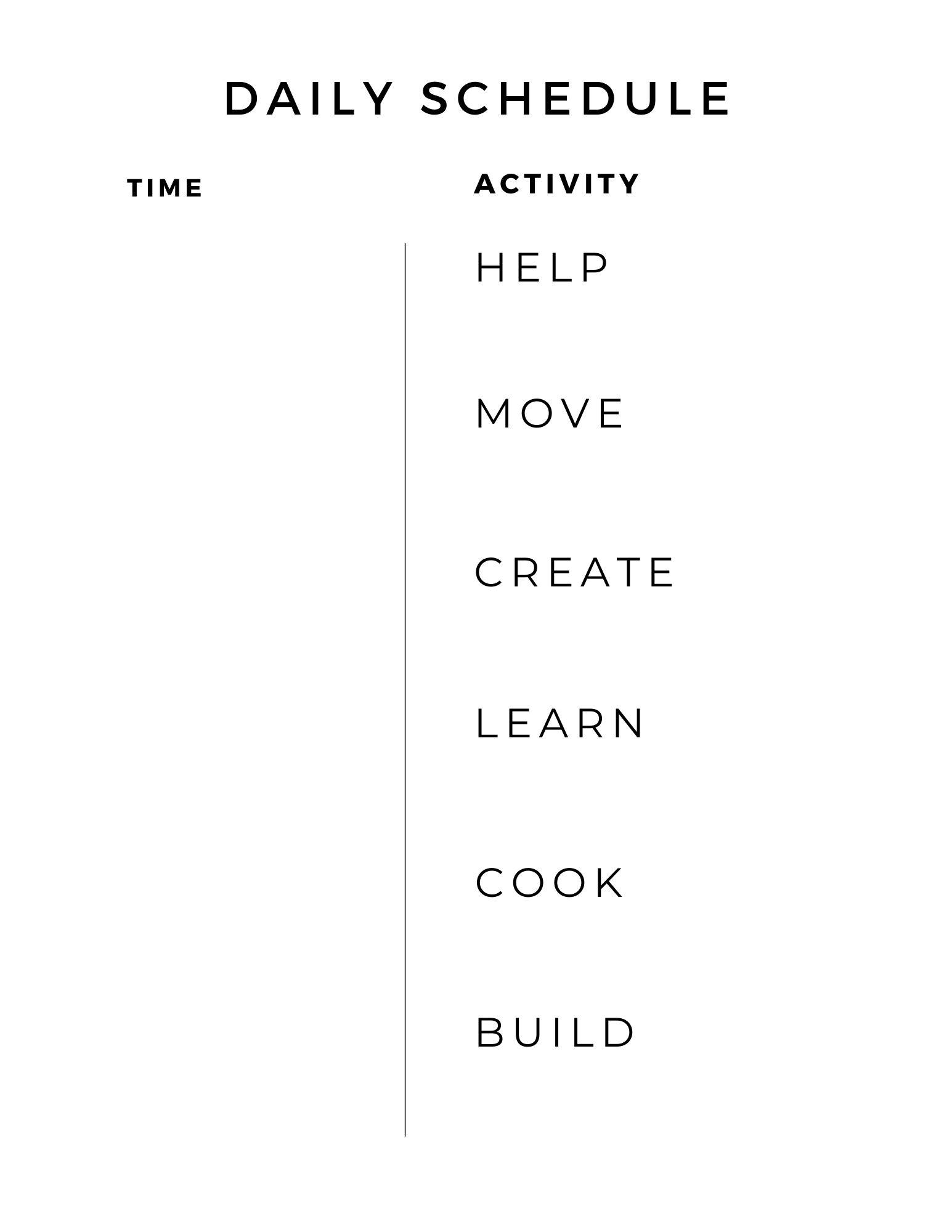 kids daily schedule worksheet template printable