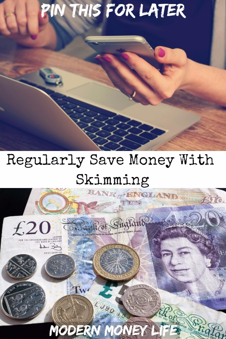 Saving money little and often with skimming. Watch how a few pennies and pounds soon add up to a sizeable rainy day fund.